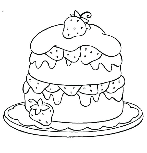 600x627 Birthday Cake Coloring Page Coloring Pages Birthday Cake Birthday