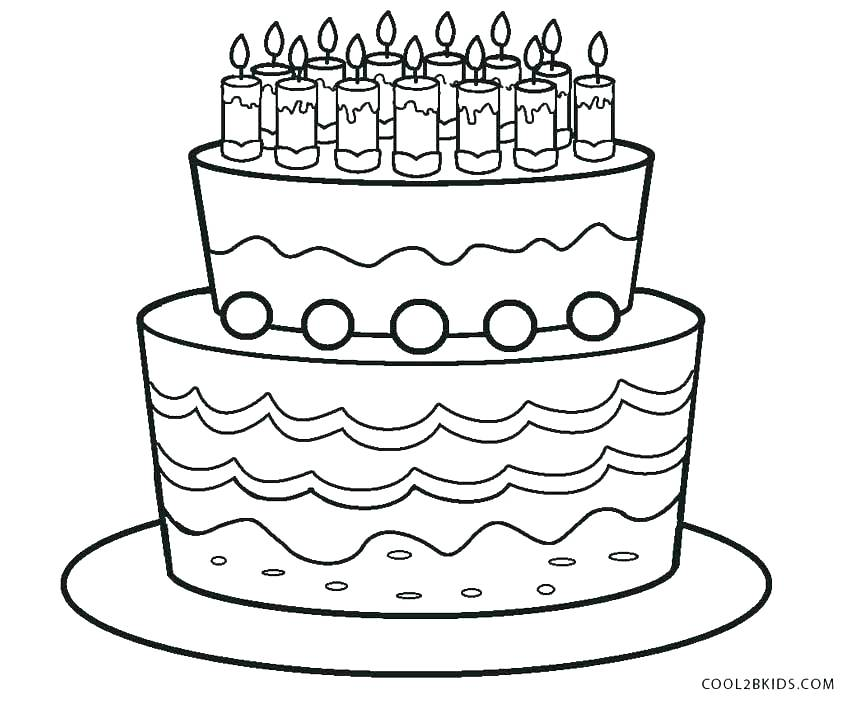 850x702 Birthday Cake Coloring Page Plus Cake Coloring Pages Coloring Page