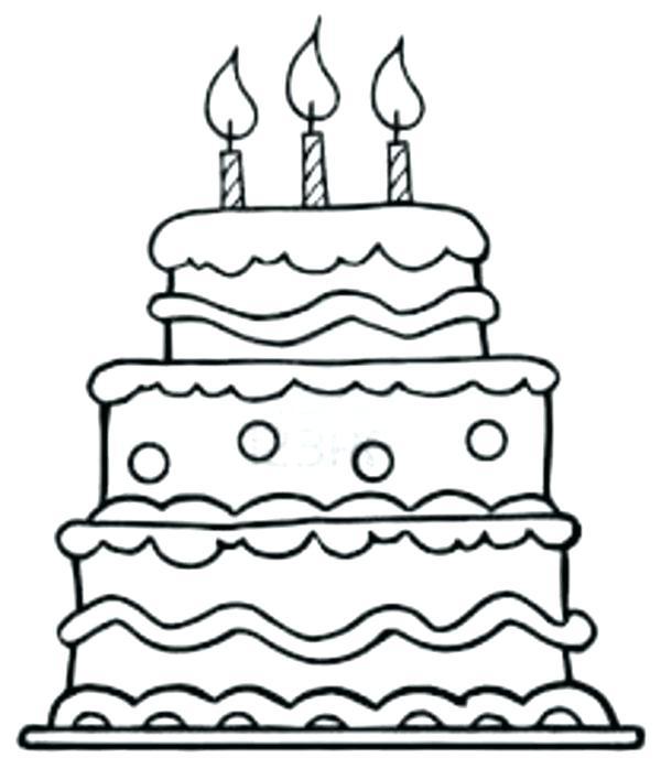 600x698 Birthday Cake Coloring Page With Medium Size Of Birthday Cake