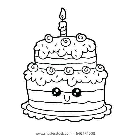 450x470 Birthday Cake Printable Coloring Pages Birthday Cake Coloring