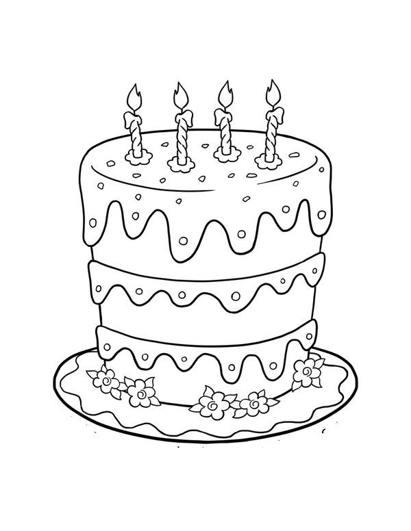 600x776 Birthday Cake Printable Coloring Pictures