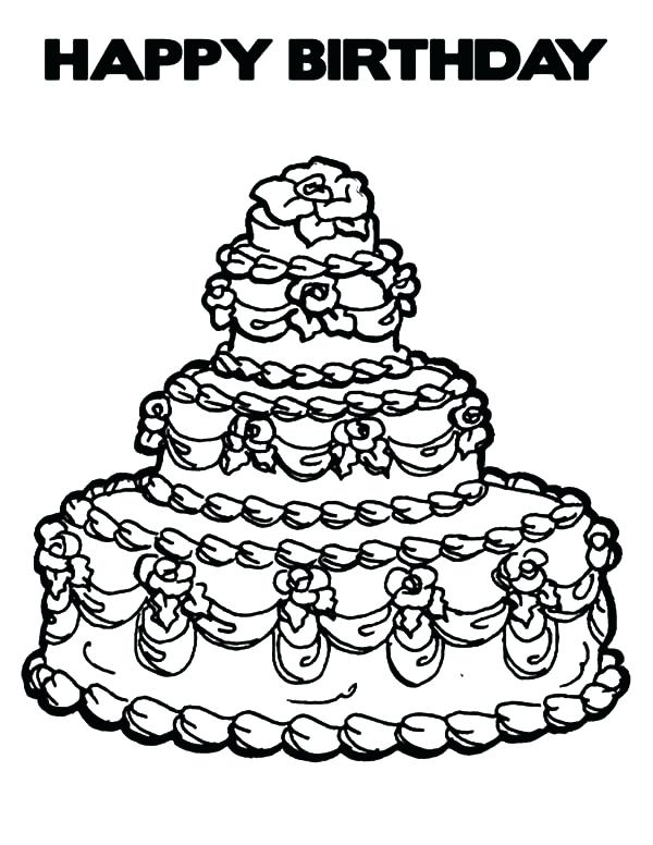 600x776 Cake Printable Coloring Pages Birthday Cake Coloring Page Free