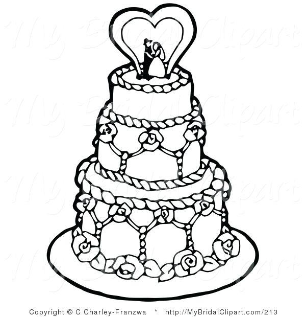 600x620 Coloring Page Cake Bridal Of A Coloring Page Black And White