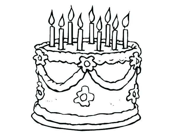 600x464 Printable Colouring Pages Of Birthday Cakes Printable Coloring