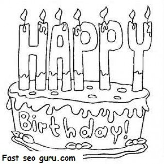 338x338 Printable Happy Birthday Cake Coloring Pages