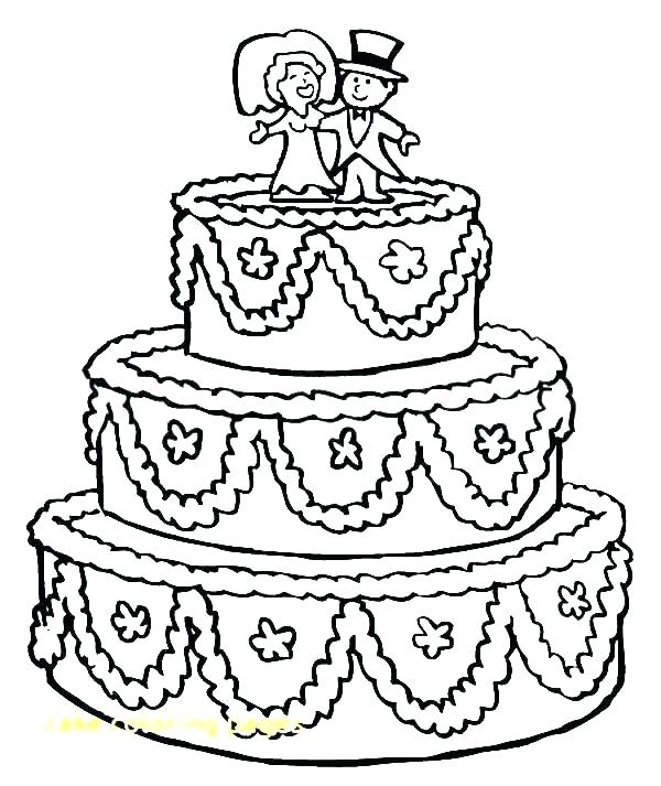 600x713 Coloring Page Of A Birthday Cake Professional