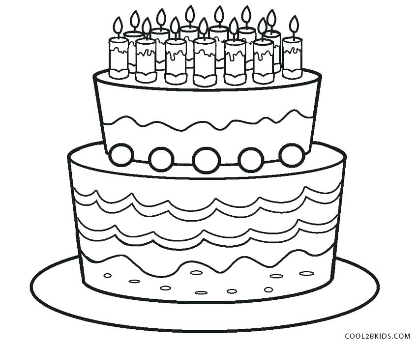 850x702 Birthday Cake Coloring Pages Printable Coloring Page Birthday Cake