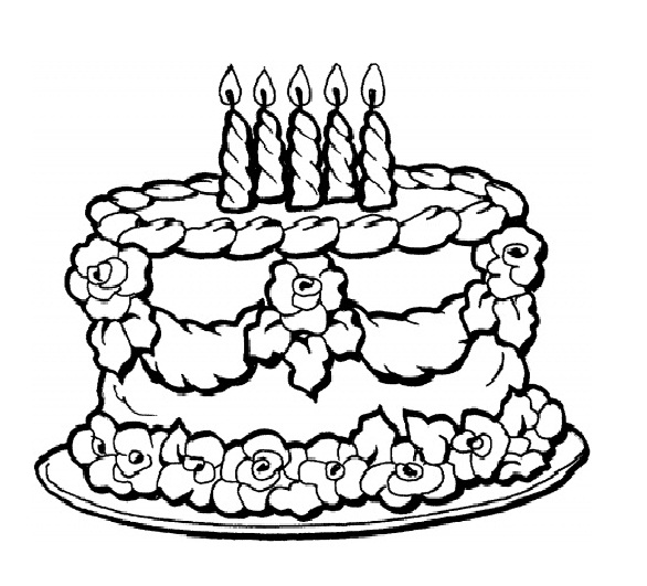 586x531 Birthday Cake Printable Coloring Pages