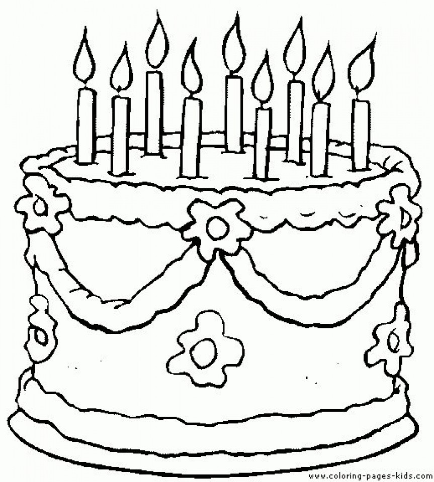 863x960 Birthday Cake Printable Coloring Pages