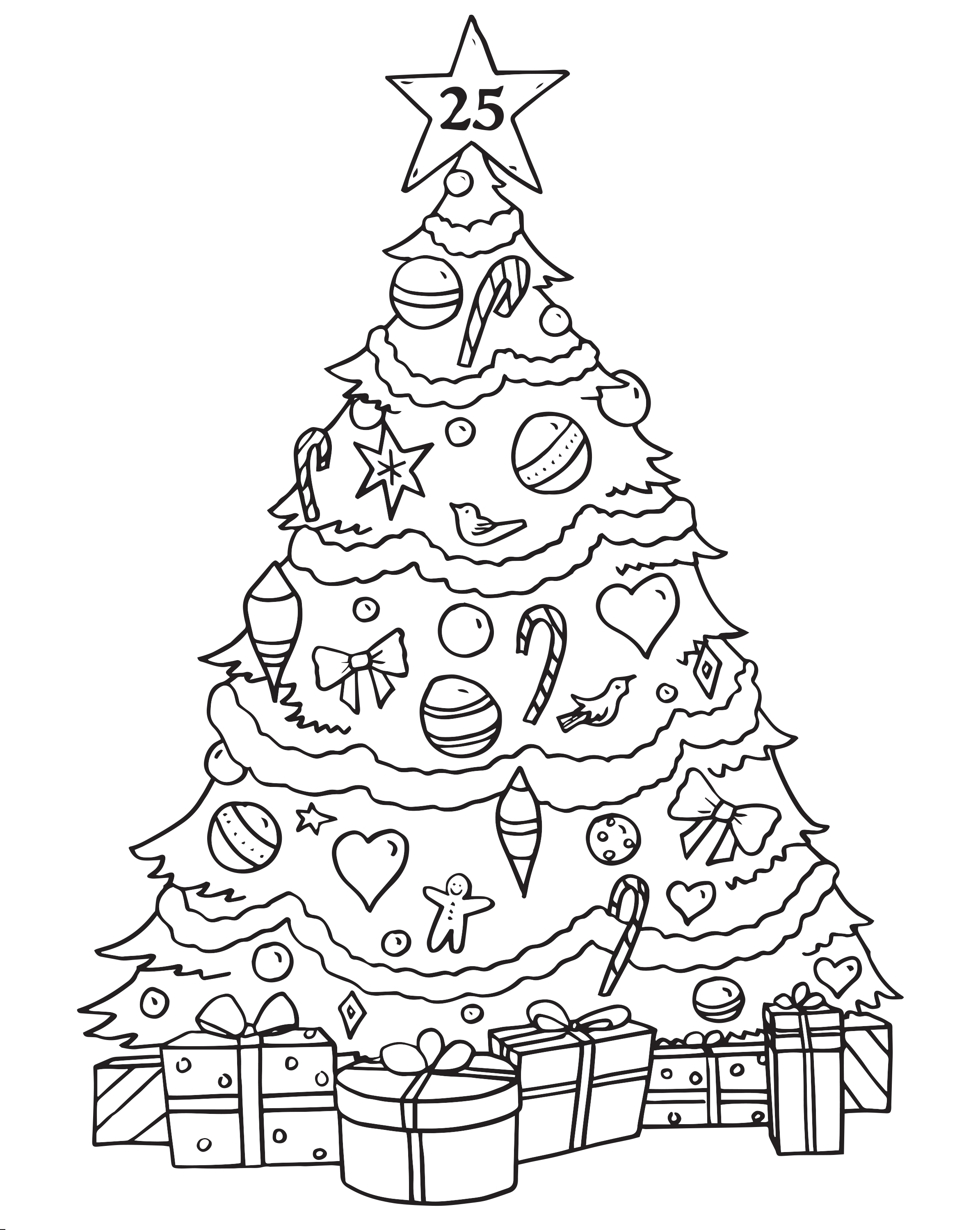 2389x2998 Christmas Tree Advent Calendar Coloring Page