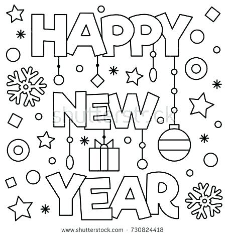 450x470 New Year Coloring Page New Years Coloring Pages Happy New Year