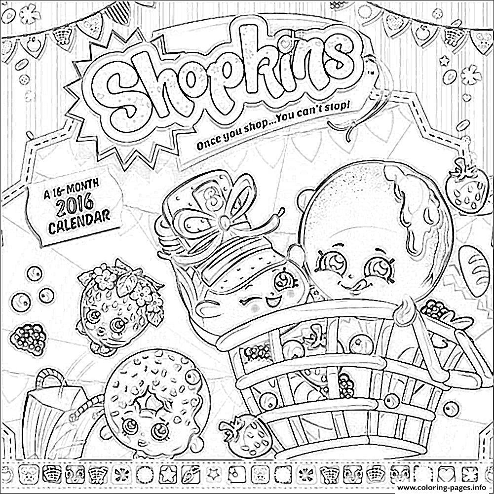 1001x1001 Shopkins Calendar Coloring Pages Printable