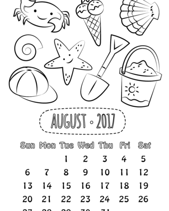 339x425 Calendar Coloring Pages August Calendar Coloring Page
