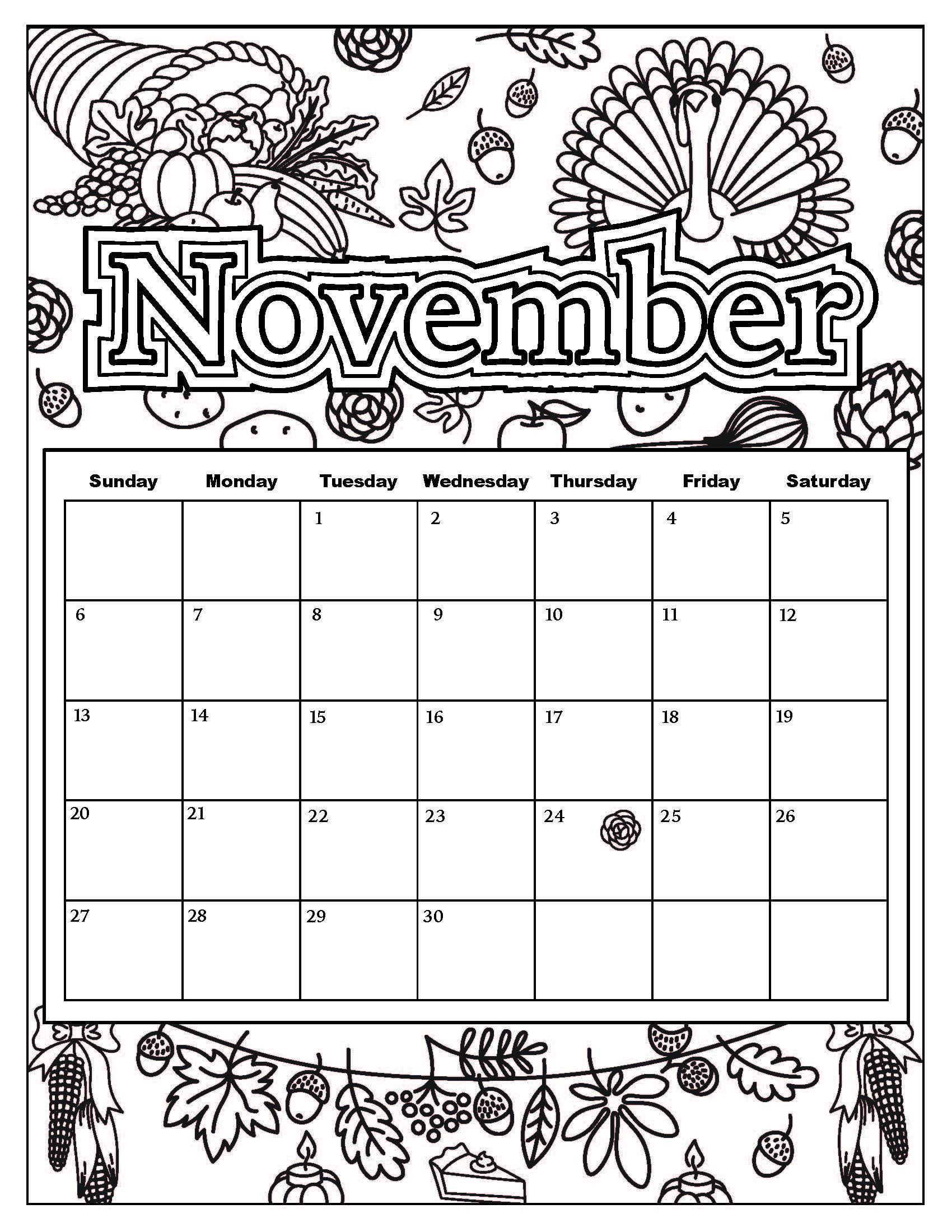 1700x2200 Calendar Coloring Pages
