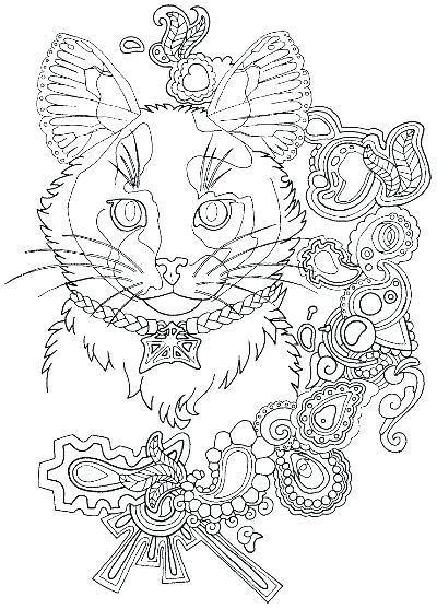 400x557 Jewelry Coloring Pages Jewelry Coloring Pages Calico Cat Coloring