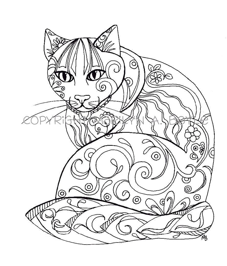 888x1042 Calico Cat Coloring Pages
