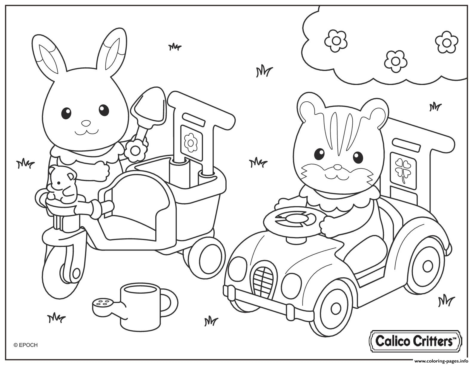 1584x1224 Calico Critters Drive Car With Friend Coloring Pages Printable