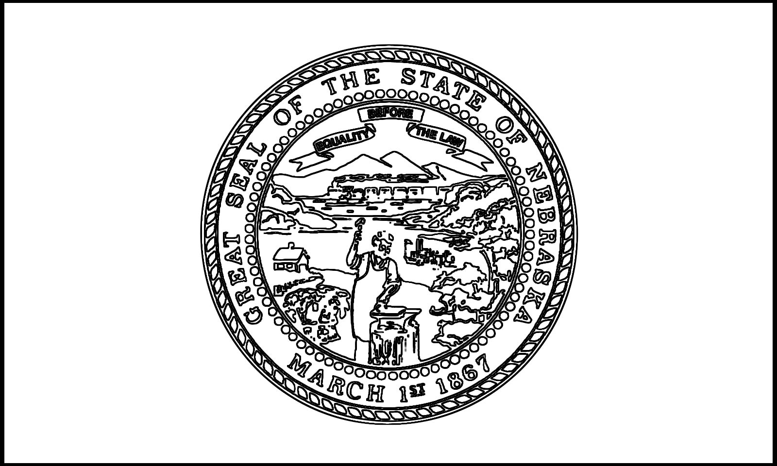 1600x960 Crammed Oregon State Flag Coloring Page Califo