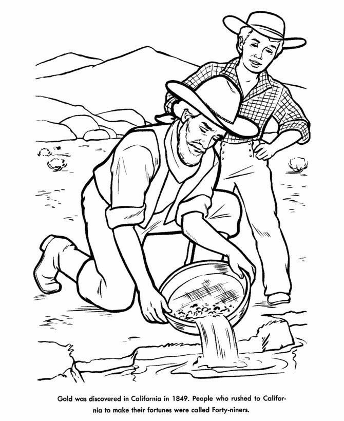 California Gold Rush Coloring Pages