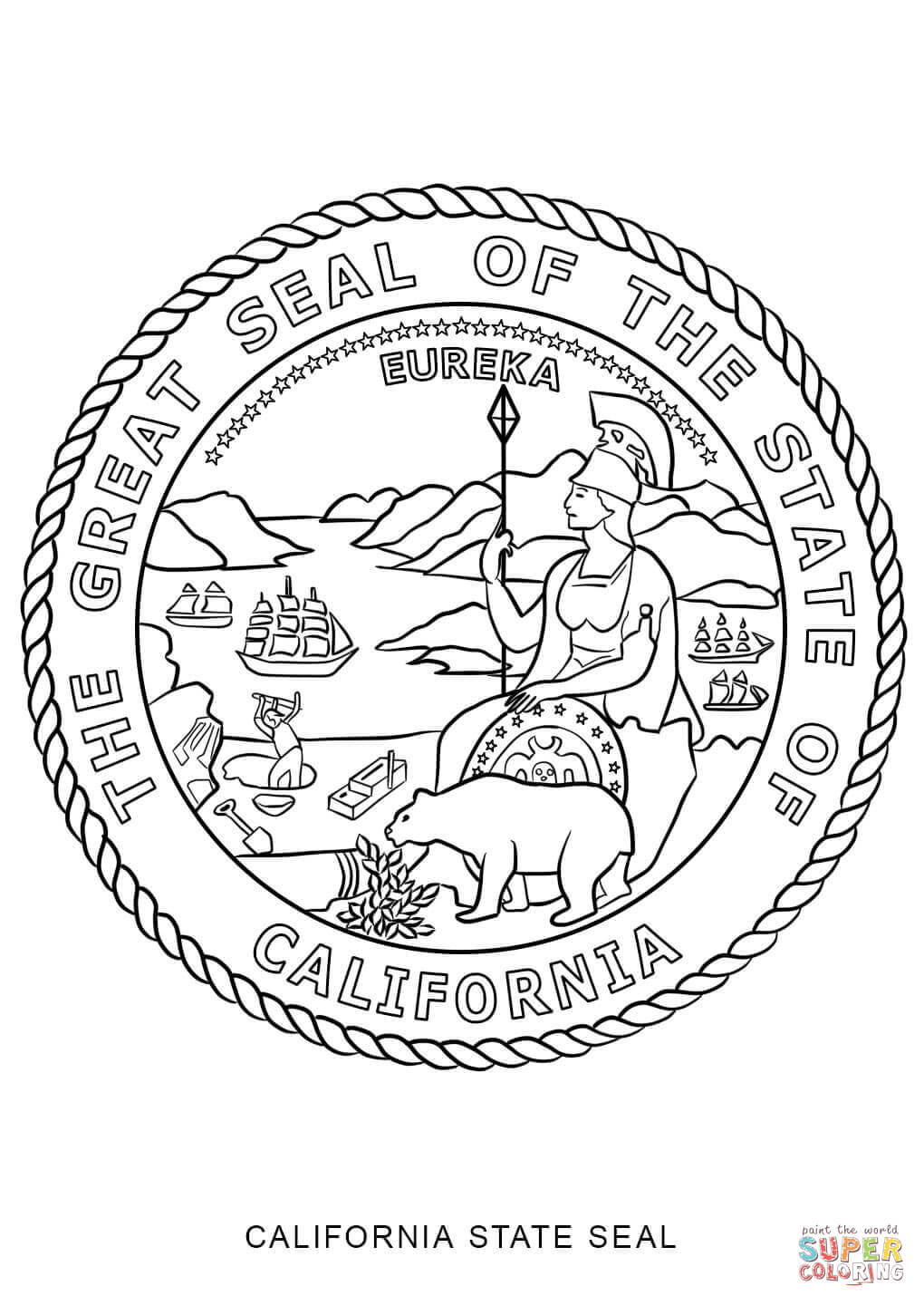 1020x1440 California State Seal Coloring Page Symbols Pages