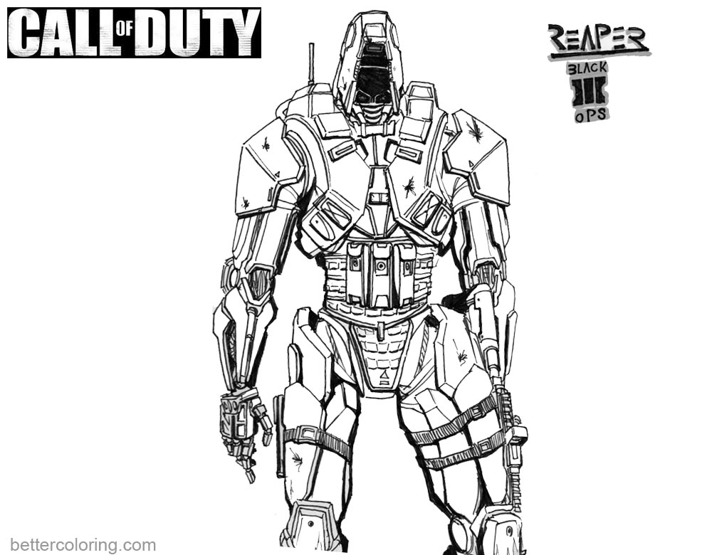1000x780 Call Of Duty Coloring Pages Black Ops Reaper
