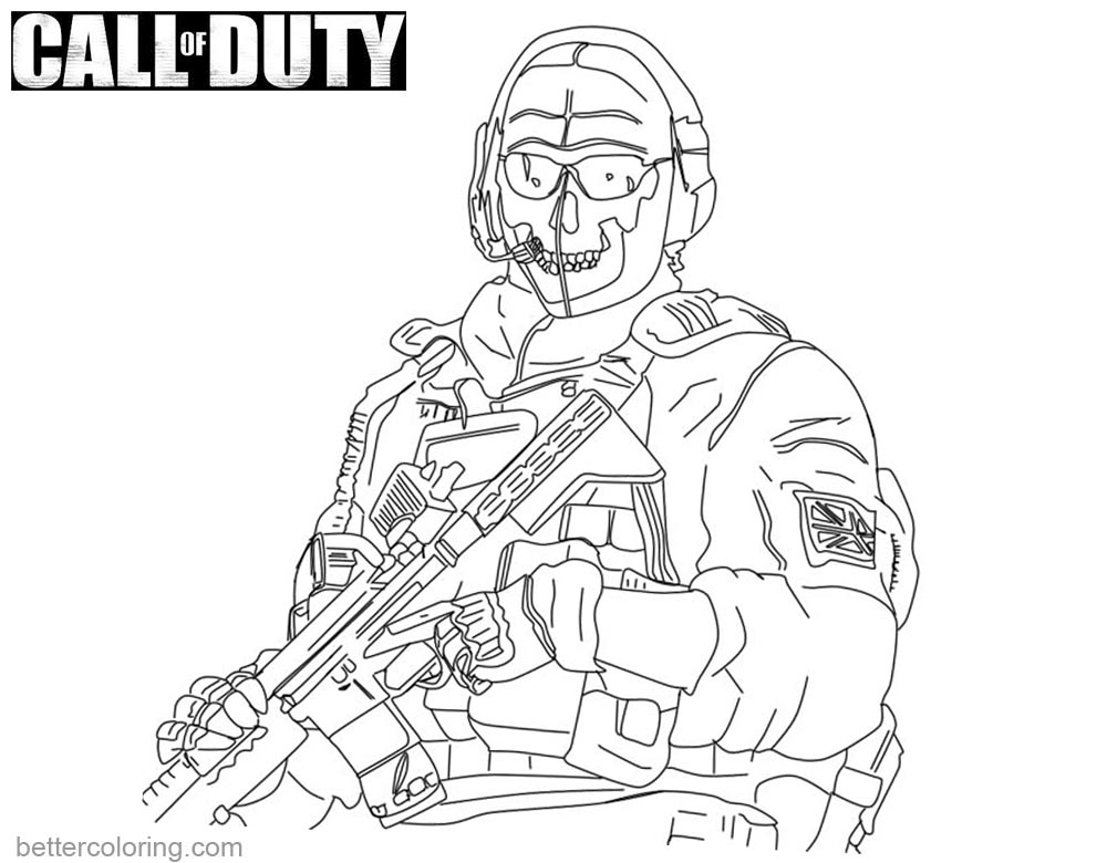 1000x780 Call Of Duty Coloring Pages Ghost Lineart