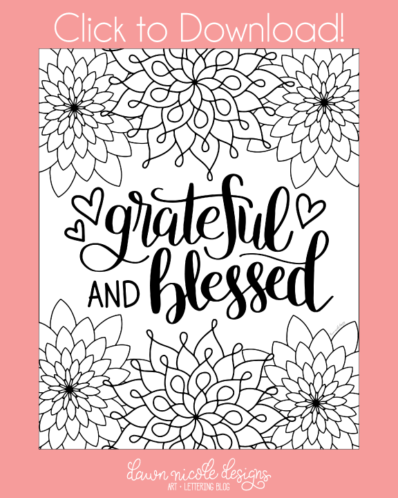 576x720 Grateful And Blessed Free Coloring Page Free Coloring, Dawn