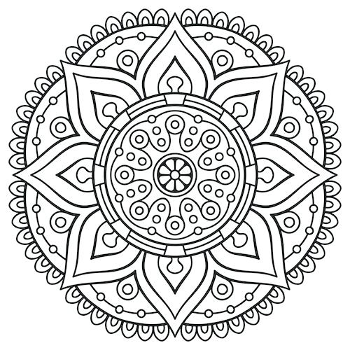 500x500 Coloring Pages For Adults Mandala
