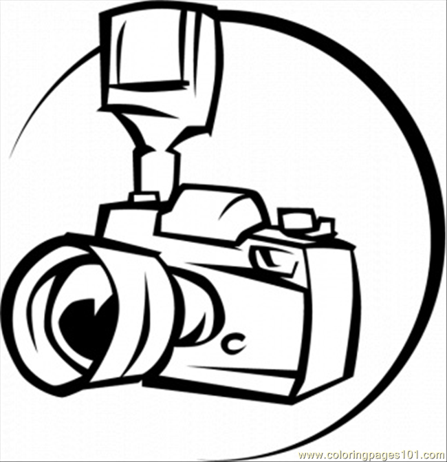 650x671 Professional Camera Coloring Page