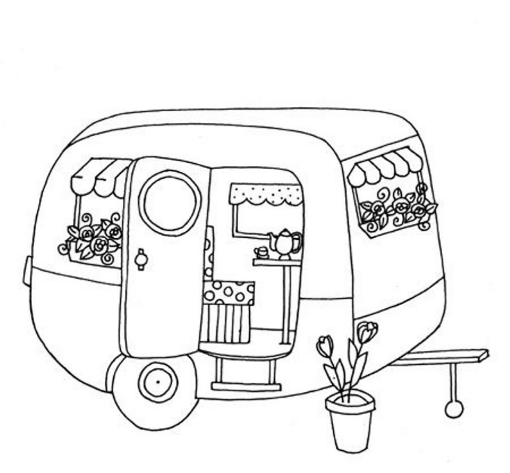 1013x939 Camper Trailer Coloring Pages