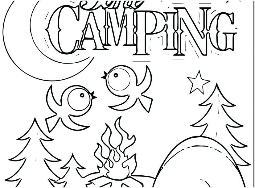 827x609 Camping Coloring Pages Camper Coloring Pages Footage Camping