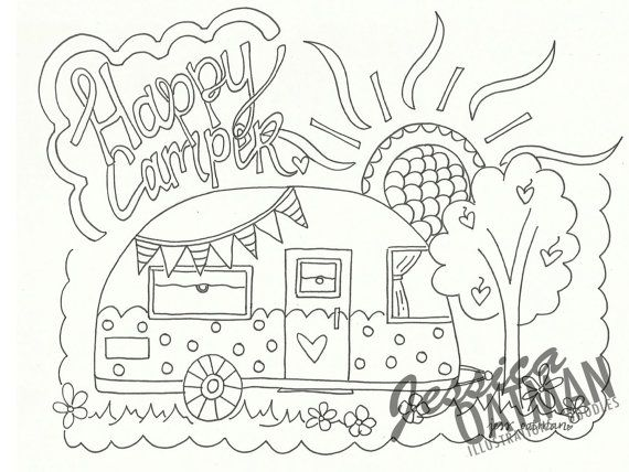 570x428 Camper Coloring Page Coloring Pages Vintage