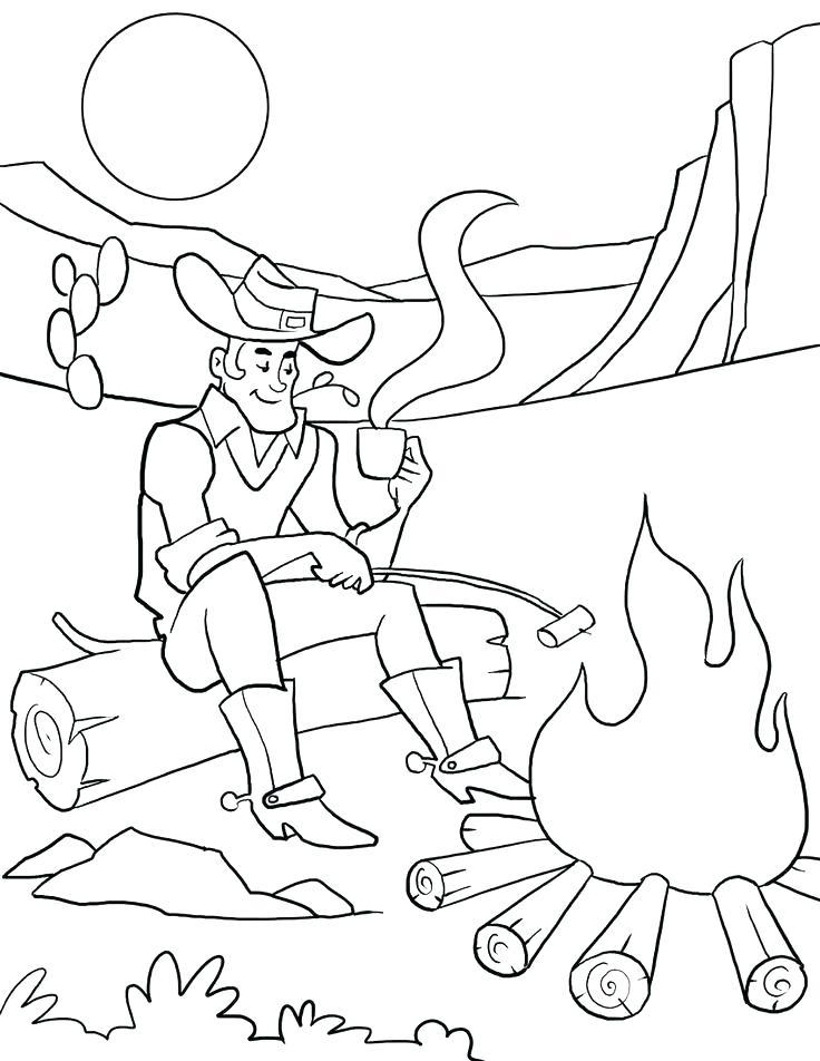 736x952 Campfire Coloring Page Campfire Coloring Pages Cowboy Campfire