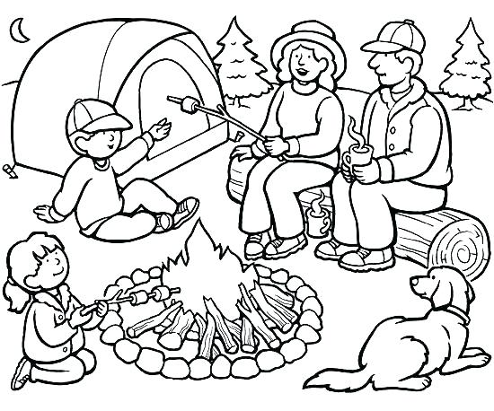 550x458 Campfire Coloring Pages Coloring Trend Thumbnail Size Printable
