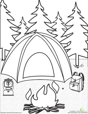 301x389 Camping Coloring Page Campfires, Tents And Backpacks