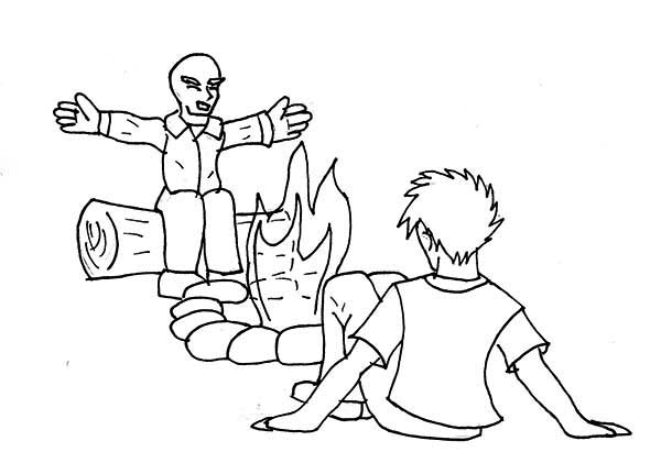 600x431 Telling Story Summer Camp Campfire Coloring Page