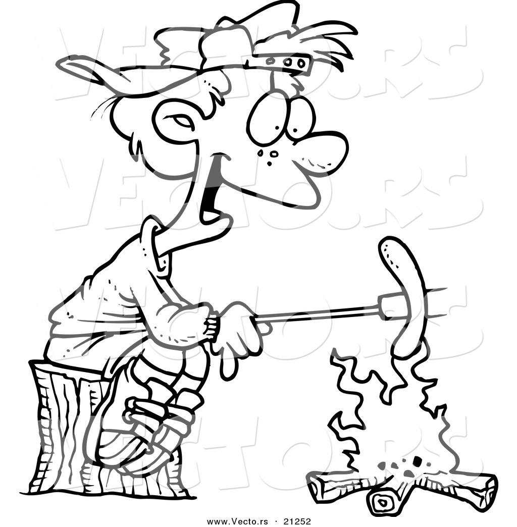 1024x1044 Vector Of A Cartoon Boy Roasting A Weenie Over A Campfire