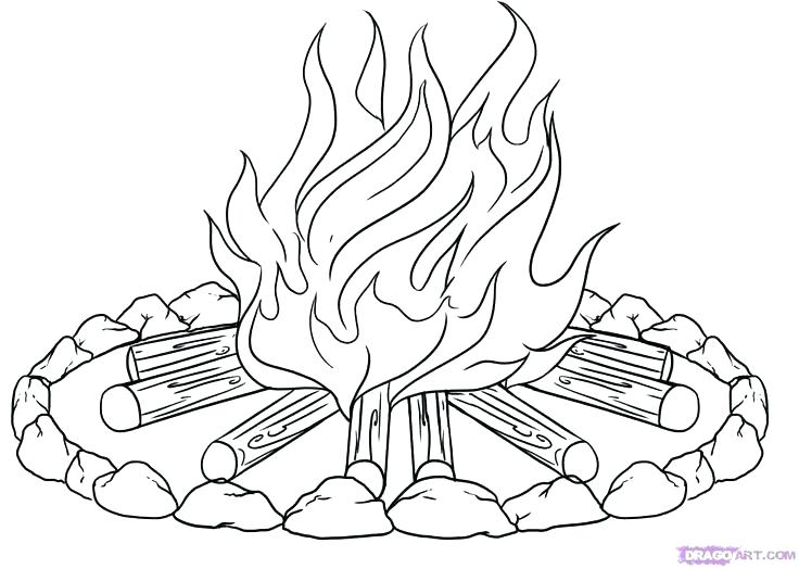 736x524 Campfire Coloring Pages