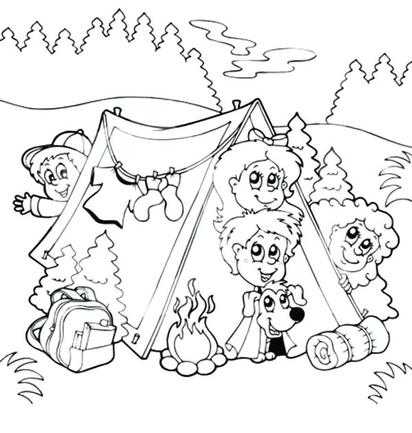 600x630 Camping Coloring Pages Camp Coloring Pages Bunch Of Kids And A Dog