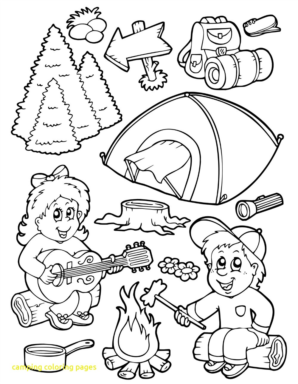 1000x1287 Camping Coloring Pages With Camping Coloring Pages Free Camping