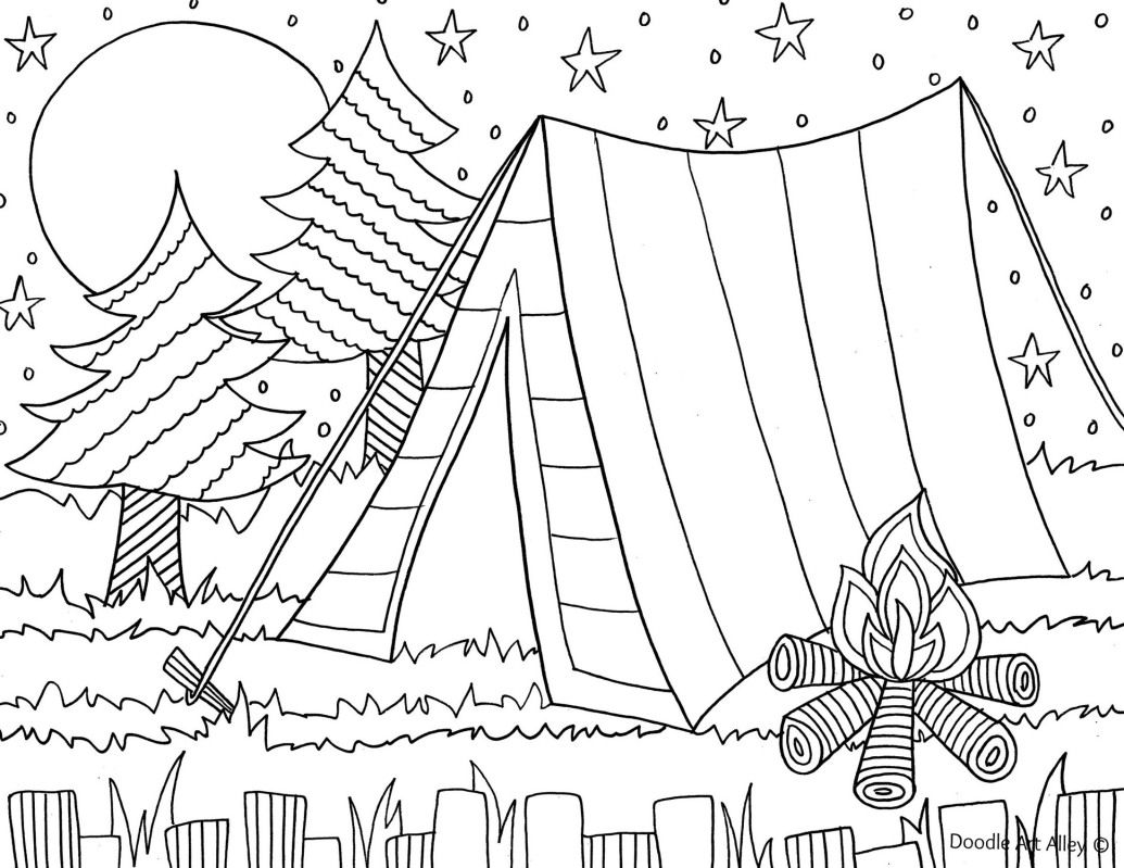 1035x799 Camping Coloring Page For The Kids Daisy Scout Ideas