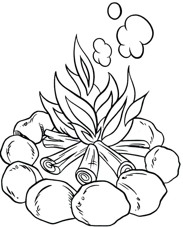 600x746 Coloring Camping Coloring Page