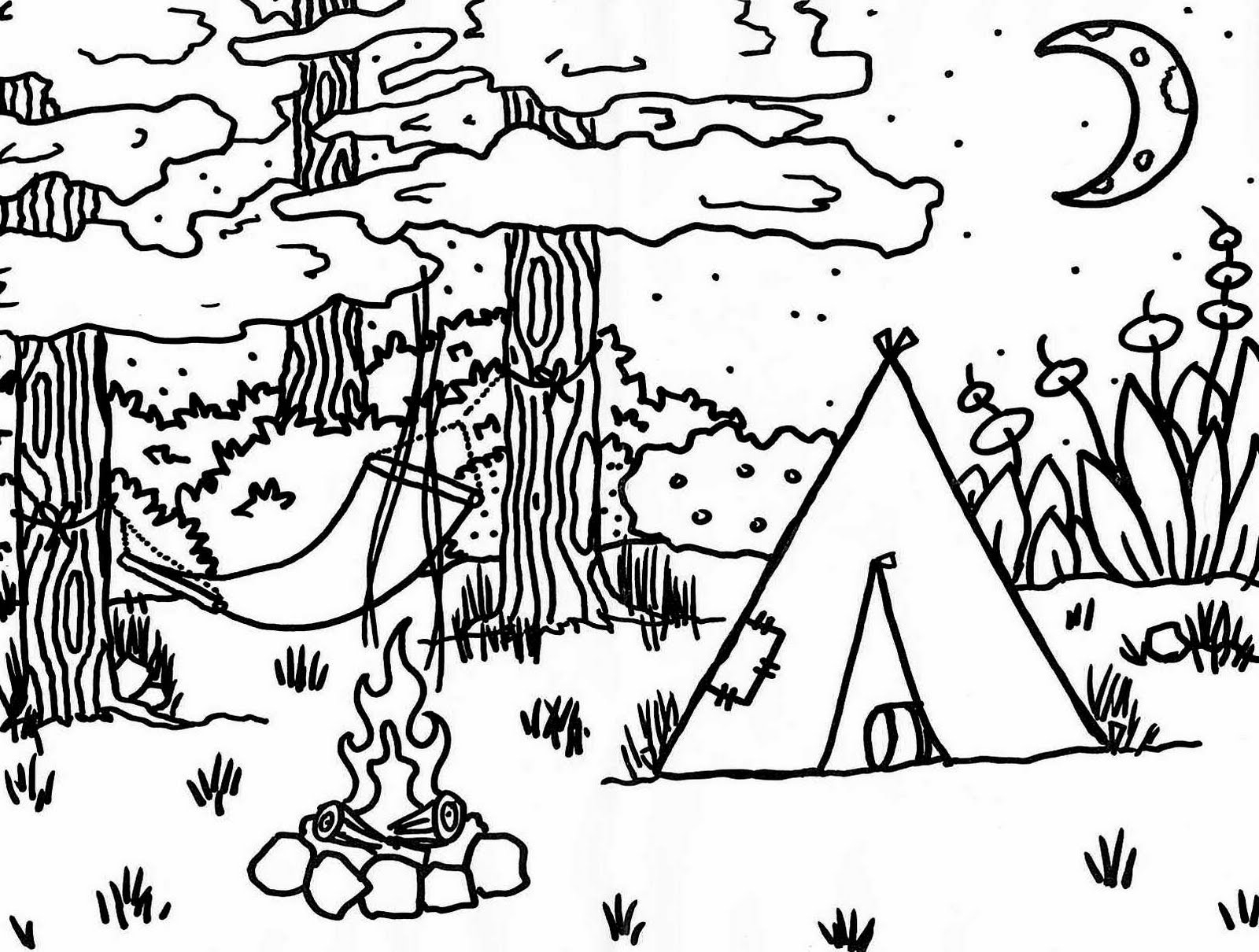 1600x1210 Camping Coloring Pages Gallery
