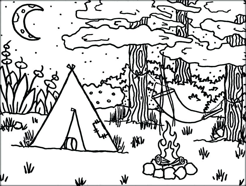 840x635 Camping Coloring Pages Scouts Camping Coloring Sheet Camping
