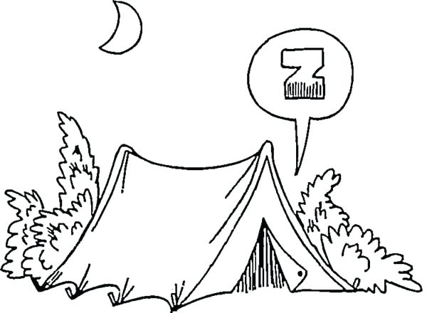 600x440 Camping Coloring Pages To Print Camping In The Night On Summer