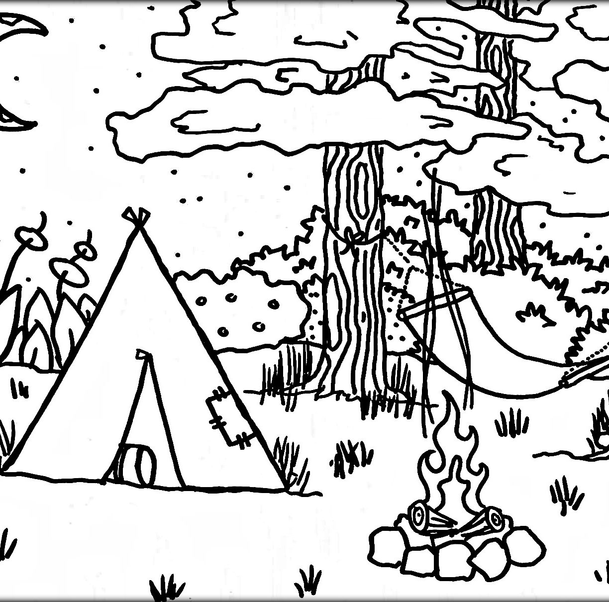 1224x1210 Camping In Summer Coloring Page For Kids Seasons Pages Free Sheets