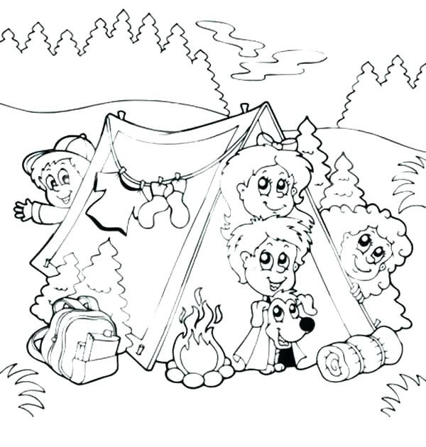 600x630 Camping Themed Coloring Pages Kids Coloring Hiking Camping