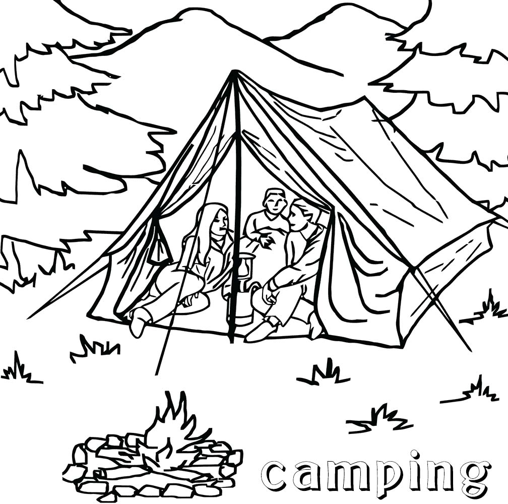 1008x1000 Security Camping Coloring Pictures Pages With Get This Printable