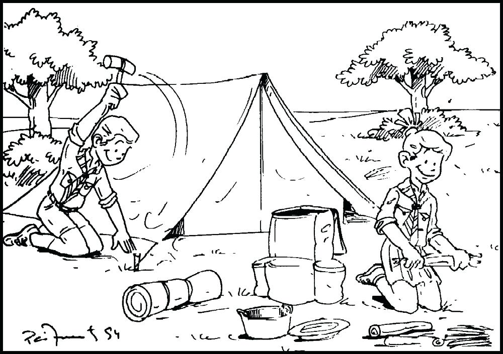 1000x705 Camping Coloring Page Camping Coloring Pages Boys Scout A Camping