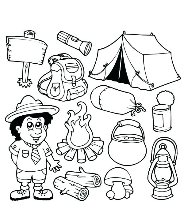 600x670 Camping Coloring Page Camping Colouring Pages Page Camping